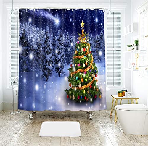 MF.CHAMA Duschvorhang Nachhaltig, Badewannenvorhang Set Weihnachtsbaum Blau 120g 150x180CM