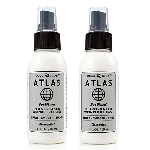 Cold Iron Wrinkle Release Spray for Clothes. Atlas Travel Size 3 fl oz/89 ml. Fragrance Free. Fast, Easy to Use Ironing Alternative. Spray, Smooth, Hang. Award Winning for People on The Go