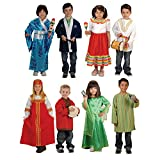 Constructive Playthings Multi-Ethnic Global Ceremonial Diverse Costumes for Kids, Set of 8 Costumes, Age Recommendation 3-6 Years Old