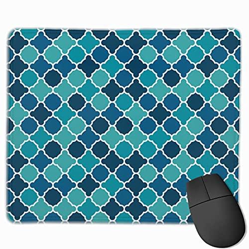 Rechteck Mauspad Gitterzaun Mosaik Schachbrett Durchmesser Gaming Computer Laptop Mousepad mit genähter Kante Gummibasis, rutschfeste bequeme haltbare, wasserdichte Mausmatte