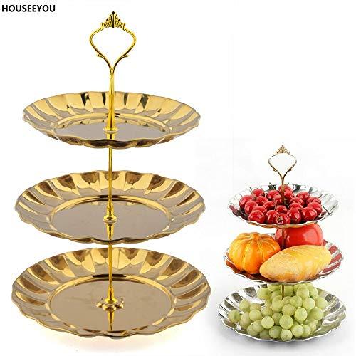 HUFT - Soporte para tartas (3 pisos, acero inoxidable), color dorado