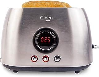 CLOEN Tostadora Pan 2 Rebanadas Ranuras Anchas de Tostadora, 800W, 6 Niveles Ajustables, 3 Funciones | Toaster de Pan de Acero Inoxidable con Bandeja Extraíble para Migas Easy Toaster