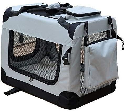 Andreas Dell Hundetransportbox Hundetasche Hundebox Faltbare Kleintiertasche (Grau, (M) 60x42x44 cm)