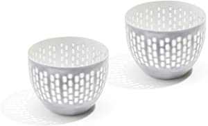 LampLust Tea Light Candle Holder Bowls - Grey Enamel with Decorative Cut Outs, Fits Tealight or Votive Candles, Distressed Finish, for Wedding Centerpiece or Home Decor - Set of 2
