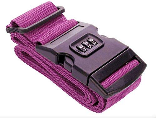 2 Stück Koffergurte Koffergurt Gepäckgurt Gepäckgurte Gepäckband Kofferriemen Kofferband Reise Zahlenschloss (Pink)