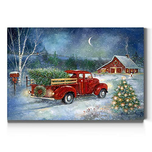 Renditions Gallery Christmas Tree & Red Truck Wall Art, Beautiful Winter Decorations, Snowy Forest and Barn, Premium Gallery Wrapped Canvas Decor, Ready to Hang, 8 in H x 12 in W, Made in America
