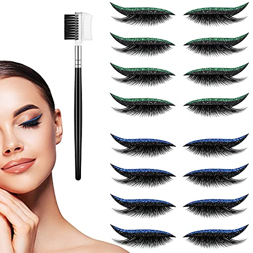 8 Pairs Reusable Eyeliner Sticker with Lashes Waterproof Colorful Eyeliner and Eyelash Stickers Colored Eyeliners Stickers for Eyes with 1 Eyelash Brush for Party Daily Makeup (Blue+Green)