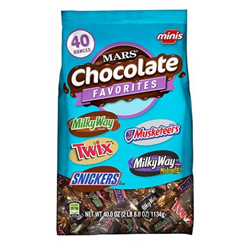 MARS Chocolate Favorites Minis Size Candy Bars Assorted Variety Mix Bag (TWIX, MILKY WAY, SNICKERS, 3 MUSKETEERS Brands), 40 oz