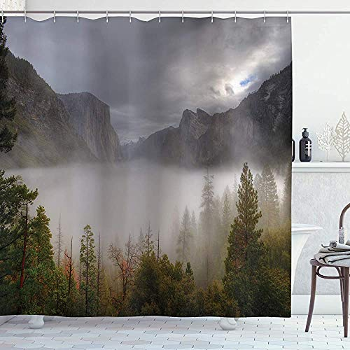 Yosemite douchegordijn Yosemite Valley Herfstzicht met donkere wolken Zware Haze Regenachtige Dag Landschap Print Doek Stof Badkamer Decor Set met Haken Groen Grijs 66 * 72in