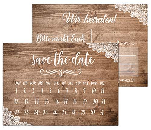 HWArt 50 Save The Date Karten Vintage Hochzeit Einladungen Hochzeiteinladung Postkarten Holz Spitze Optik A6 Karten zur Hochzeit Countdown