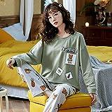 STJDM Bata de Noche,Autumn Pure Blue Pajamas Set for Women Home Solid Satin Sleepwear Winter Warm Silk Soft Woman'S Lounge Nightwear XL 4