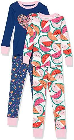 Amazon Essentials Girls Snug Fit Cotton Pajamas Sleepwear Sets 4 Piece Watermelon Flower Heart product image