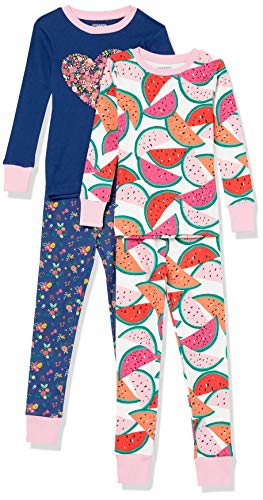 Amazon Essentials Girls' Snug-Fit Cotton Pajamas Sleepwear Sets, 4-Piece Watermelon/Flower Heart Set, X-Small