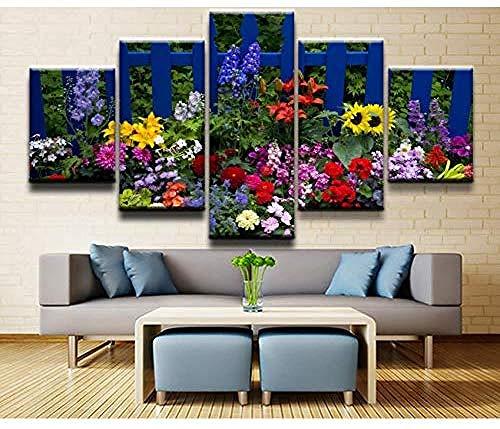 5 gemälde auf leinwand moderne hd gedruckt wandkunst modulare leinwand bilder 5 stücke zaun blume malerei poster home dekorative wohnzimmer-Outer frame