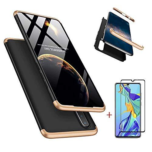 Laixin 3 in 1 Handyhülle für Huawei P30 Lite/Nova 4e Hülle + Panzerglas, Ultra Dünn PC Plastik Anti-Kratzen Schutzhülle Schutz Hülle Cover mit Bildschirmschutzfolie, Gold/Schwarz
