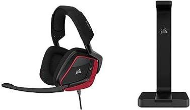 Corsair Void Elite Surround Premium Gaming Headset with 7.1 Surround Sound, Cherry with ST50 Premium Headset Stand