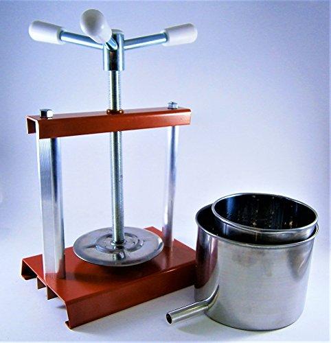 Prensa de quesos 2,7 L con cesta de acero inoxidable (Mold) 2 L – Prensa de frutas – Prensa de vinos – Prensa de vino – Fabricado en Italia