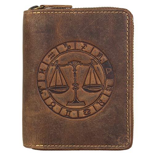Greenburry Vintage Leder Reißverschluss-Geldbörse Sternzeichen Portmonee Portemonnaie Geldbeutel 821A-Waage-25 braun
