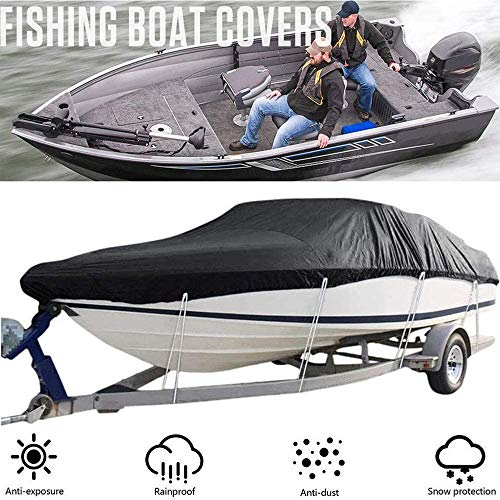 BODOGY-KB Boat Cover, Waterproof Anti-UV Heavy Duty Boat Covers Trailerable Runabout Boat Cover Fits V-Hull Tri-Hull Bass Boats Outdoor Protection with Storage Bag,Black,20 to 22ft