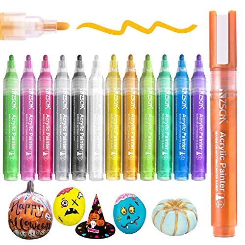 Paint Pens Acrylic Markers, ZSCM 12 Colors Paint Markers for Halloween Pumpkin Painting, Metallic Art Marker, for Kids Adults Card Making, Rocks Painting, Wood Slices, School Supplies