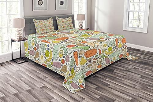 ABAKUHAUS Gemüse Tagesdecke Set, Paleo Diet Foods Entwurf, Set mit Kissenbezügen Feste Farben, 264 x 220 cm, Kokosnuss & Multicolor
