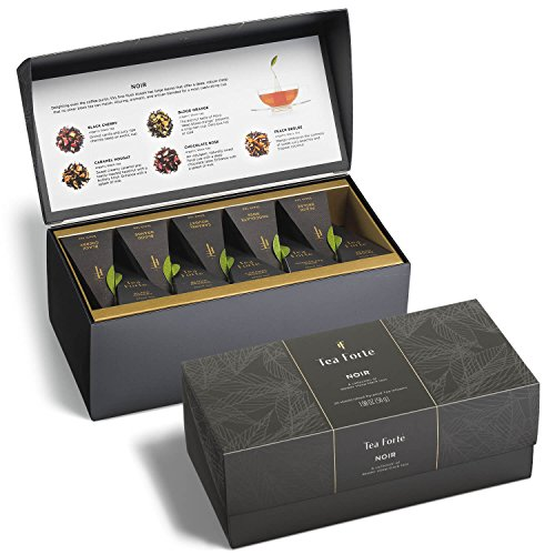 Tea Forte Presentation Box Tea Sampler, Assorted Variety Tea Box, 20 Handcrafted Pyramid Tea Infuser Bags, Noir Black Tea