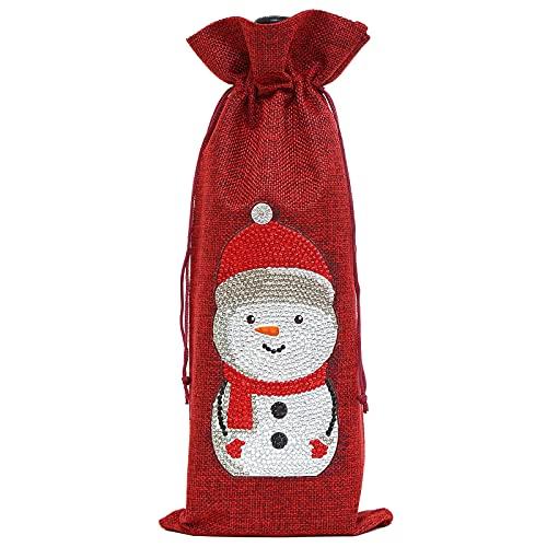Navidad 5D pintura diamante botella de vino decoración bolsa decoraciones para el hogar fiesta champán botella bolsas ropa accesorios de Navidad (AA863)