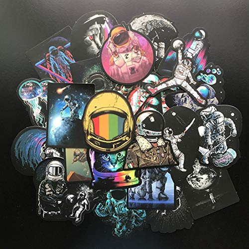 BLOUR 50 Stück Vinyl Universe Aufkleber Pack Space Explorer Aufkleber Astronaut Graffiti Aufkleber für Laptop Auto Gepäck Wasserflasche Helm