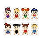 (3 PCs/Pack) Superhero Baby Superhero Baby Costumes Superbaby Girls Clipart 3x4 Inch Die-Cut Stickers Decals for Laptop Window Car Bumper Helmet Water Bottle