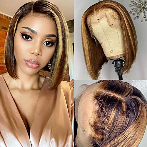 Highlight Straight Short Bob Wigs 13x6x1 T Part Lace Front Wigs with Baby...