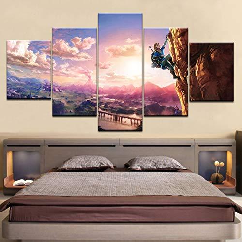 HSART 5 Paneles Pinturas Murales The Legend of Zelda Aliento de Lo Salvaje Arte Lona Impresión Póster Imágenes del Juego para Cuarto...