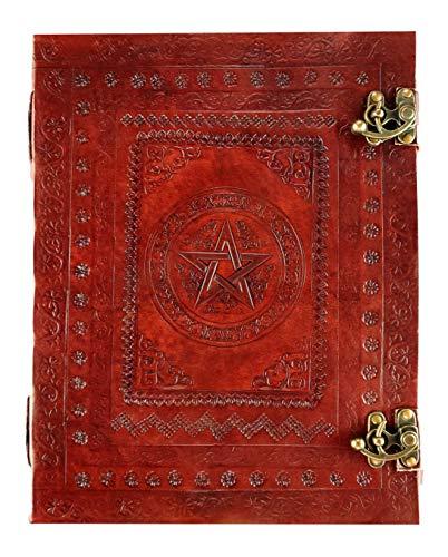 Kooly Zen Notizbuch, Notizblock, Tagebuch, Echtleder, Vintage, Pentagramm, Metallverschluss, Vintage, 25 cm x 33 cm, 200 Seiten, Premiumpapier