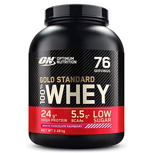 Optimum Nutrition Gold Standard 100% Whey Proteína en Polvo, Glutamina y Aminoácidos Naturales, BCAA, Chocolate Blanco y Frambuesa, 76 Porciones, 2.28kg, (Embalaje Puede Variar)