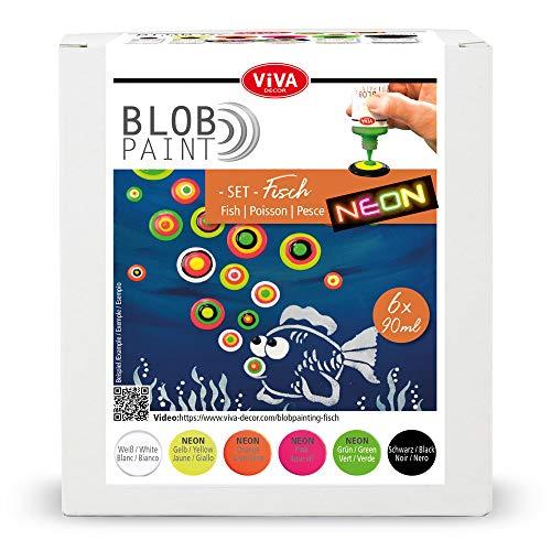 Viva Decor® Blob Paint Farbeset (Fisch) gebrauchsfertige Farben für Blob Painting/Dot Painting Art - Dotting Tool für Leinwand, Mandala uvm. - Made in Germany