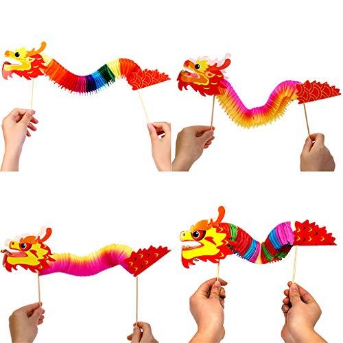 ZZALLL 4pcs 3D Chinese Year Dragon Garland Hanging Decoration