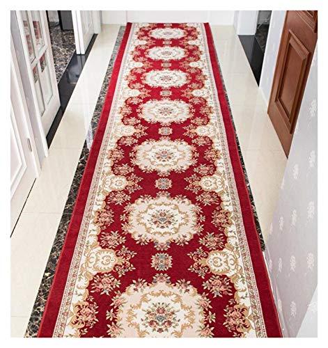 ditan XIAWU Langer Teppich Schlafzimmer Wohnzimmer rutschfest Kann Geschnitten Werden Eingangstürmatte (Color : Red, Size : 100x240cm)