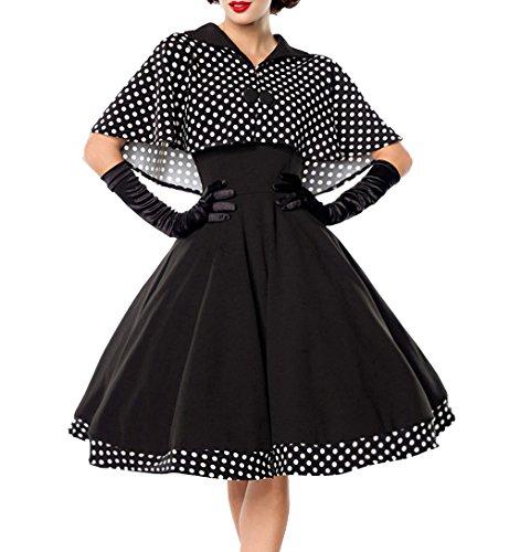 Schwarzes knielanges Swing Kleid im High Waist Schnitt mit Cape und abnehmbar gepunktet und Umlegekragen bandeau XL