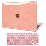 JGOO Funda para MacBook Air 13 Pulgadas 2020 2019 2018 Release A2337 M1 A2179 A1932, Estuche Rígido Liso Brillante Shine + Cubierta para Teclado Compatible con Mac Air 13.3 con Touch ID, Oro Rosa