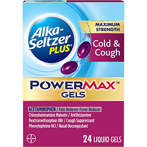 Alka Seltzer Plus Maximum Strength PowerMax Cold and Cough Medicine,Liquid Gels for adults with Pain Reliever, Fever Reducer, Cough Suppressant and Nasal Decongestant, 24 count