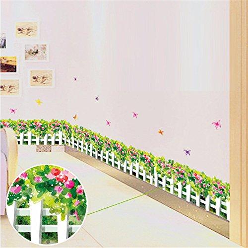 Frisches GrüNes Blatt WeißEr Zaun Wandaufkleber FußLeiste Aufkleber Glas Schlafzimmer Wohnzimmer Aufkleber 50 X 70 Cm
