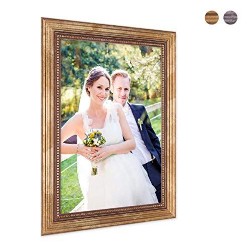 PHOTOLINI Bilderrahmen 20x30 cm Gold Barock Antik Massivholz mit Glasscheibe und...