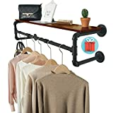 Crehomfy Upgraded Industrial Pipe Clothes Rack with 3 Hooks, 41''L Wall Mounted Garment Rack, Heavy Duty Iron Garment Bar, Clothes Hanging Rod Bar, 4 Base Max Load 135Lb Black (with 3 Separated Plank)