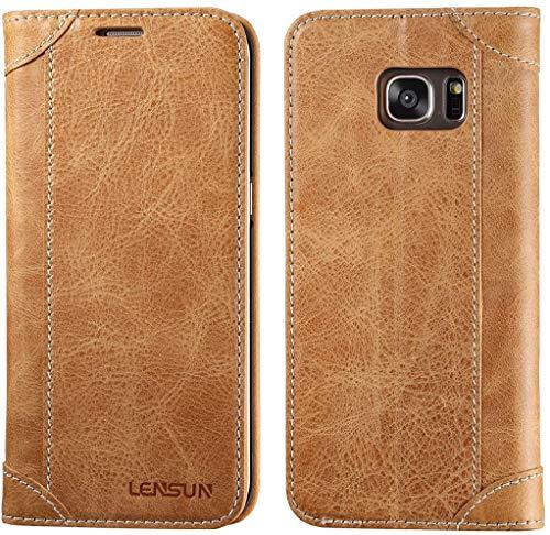 LENSUN Echtleder Hülle für Samsung Galaxy S7 Edge, Echtes Leder Handyhülle Handytasche mit Magnetverschluss S7 Edge Lederhülle (5,5 Zoll) - Braun