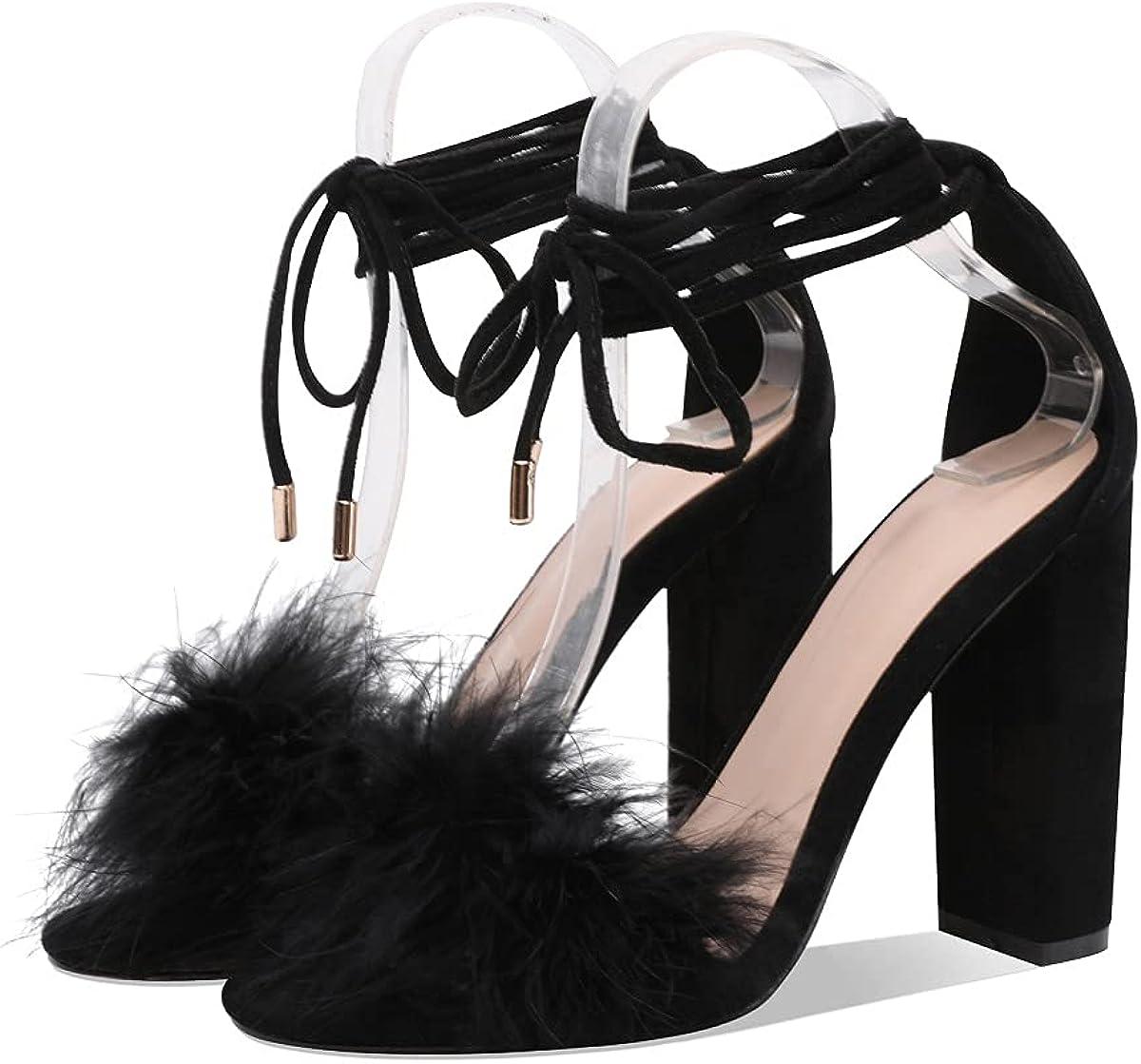 Women's 店内限界値引き中 セルフラッピング無料 Block Heels Fluffy Sandals Fur 初回限定