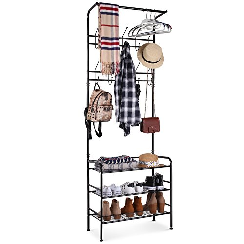 Homfa Metal Entryway Coat Shoe Rack 3-Tier Shoe Bench with Coat Hat Umbrella Rack 20 Hooks Black