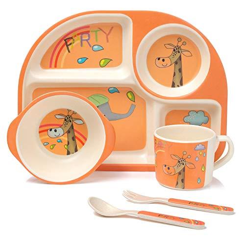 MOOKLIN ROAM Bambus Kinder Geschirr-Set, 5-teilig Giraffe Kindergeschirr Set, Teller, Schale, Löffel, Gabel, Tasse, Alter, Recycling Natur Material bpa frei
