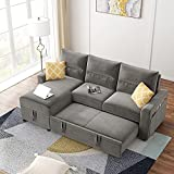 COODENKEY 82.5' Convertible Sectional Sofa Bed Reversible Pull Out Sleeper with 6 Left/Right Handed Side Pockets,Polyester Fabric L-Shaped Corner 3-Seat Couch with Storage Chaise for Small Space, Gray