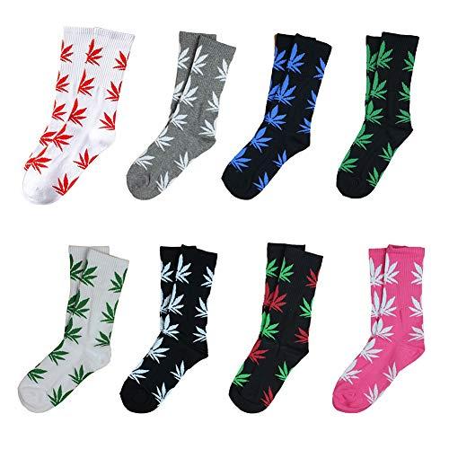 Pinenuts Neue tragbare koreanische Wave Space Herren-Socken aus Baumwolle Mode Cannabis Blatt Freizeit Lange Weed Socken Hanf Weed Crew Socken, 0, 8 Stück.
