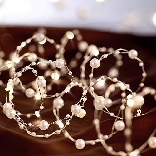 Ocean Pearl Beads String Lights, 10 ft 40 LED Lights Battery Powered with 8 Flicker Modes, Remote and Timer for Wedding, Birthday Parties, New Year, DIY Home Mantel Decoration