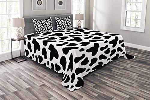 ABAKUHAUS Kuh-Druck Tagesdecke Set, Kuhfell Schwarz Spots, Set mit Kissenbezügen Waschbar, für Doppelbetten 220 x 220 cm, Weiß Grau